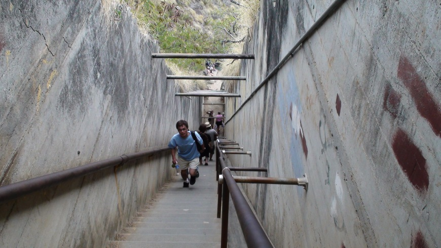 The stairs leading up to the top of Diamond Head